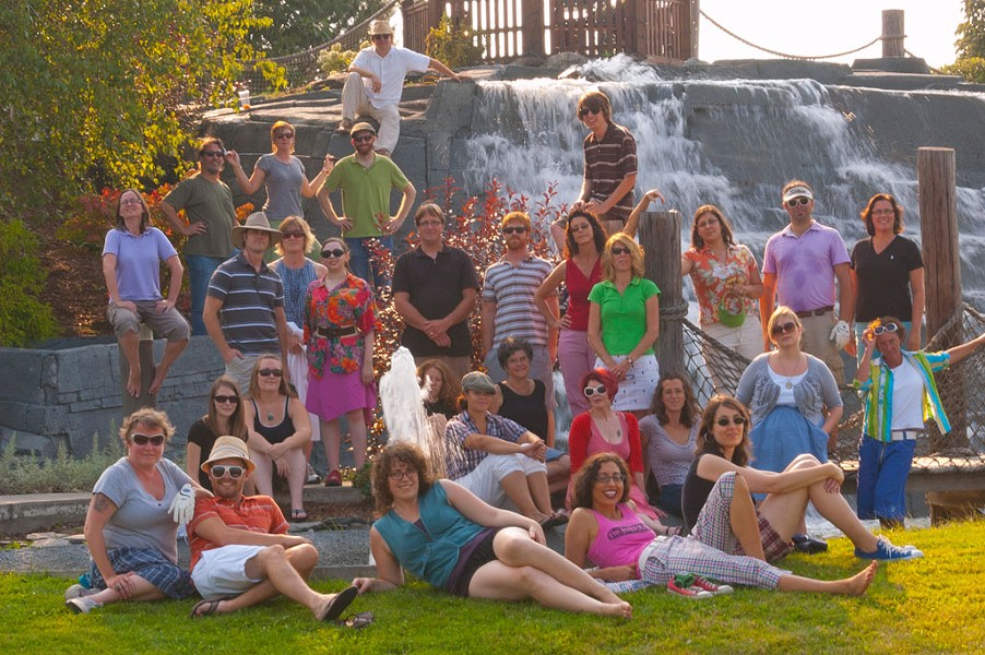ON THE FALLS: Michael Bradshaw. - BACK ROW: Cathy Resmer, Ken Picard, Lauren Ober, Andy Bromage, Tyler Machado (on the post). - NEXT ROW: Andrew Sawtell, Robyn Birgisson, Alice Levitt, Shay Totten, Dan Bolles, Paula Routly, Michelle Brown, Suzanne Podhaizer, Colby Roberts, Judy Beaulac. - NEXT ROW, SEATED: Carolyn Fox, Ashley Cleare, Cheryl Brownell, Celia Hazard, Marcy Kass, Pamela Polston, Megan James, Allison Davis, Krystal Woodward. - IN FRONT: Diane Sullivan, Don Eggert, Elizabeth Rossano, Eva Sollberger, Margot Harrison. - PHOTO: Matthew Thorsen.
