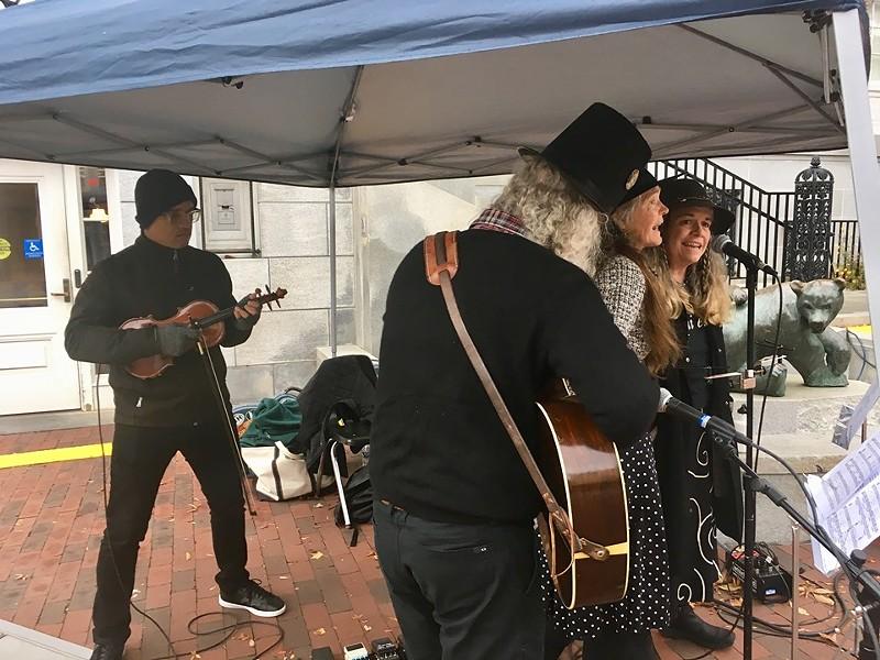 Daniel Bernard Roumain performing with members of the New Economistas on Church Street - MARGARET GRAYSON