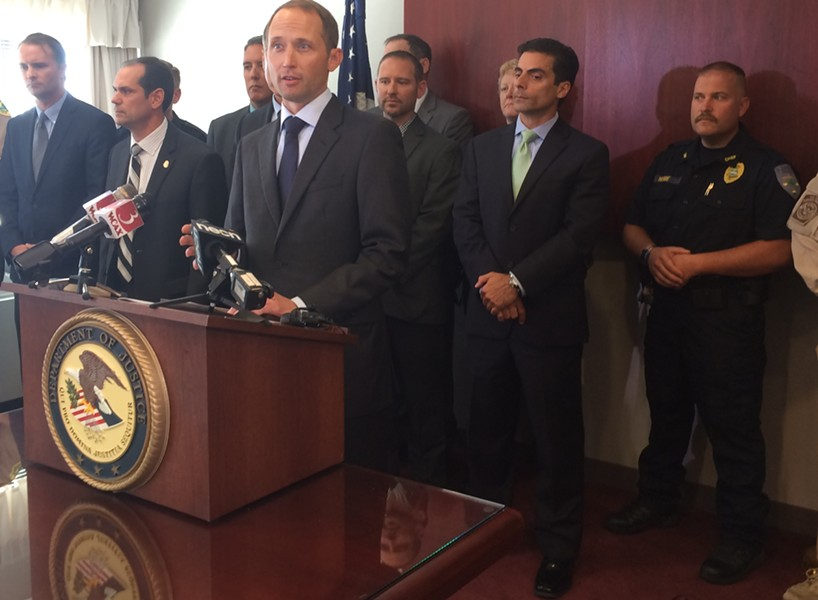U.S. Attorney Eric Miller speaks at a Tuesday afternoon press conference. - MARK DAVIS