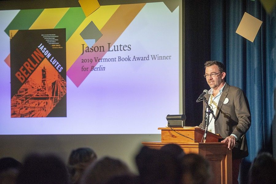 Jason Lutes accepting the Vermont Book Award - COURTESY OF JAY ERICSON