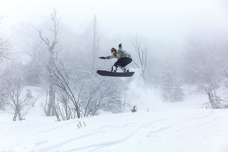 Pro snowboarder Ralph Kucharek on a PowderJet snowboard - COURTESY OF SHEM ROOSE