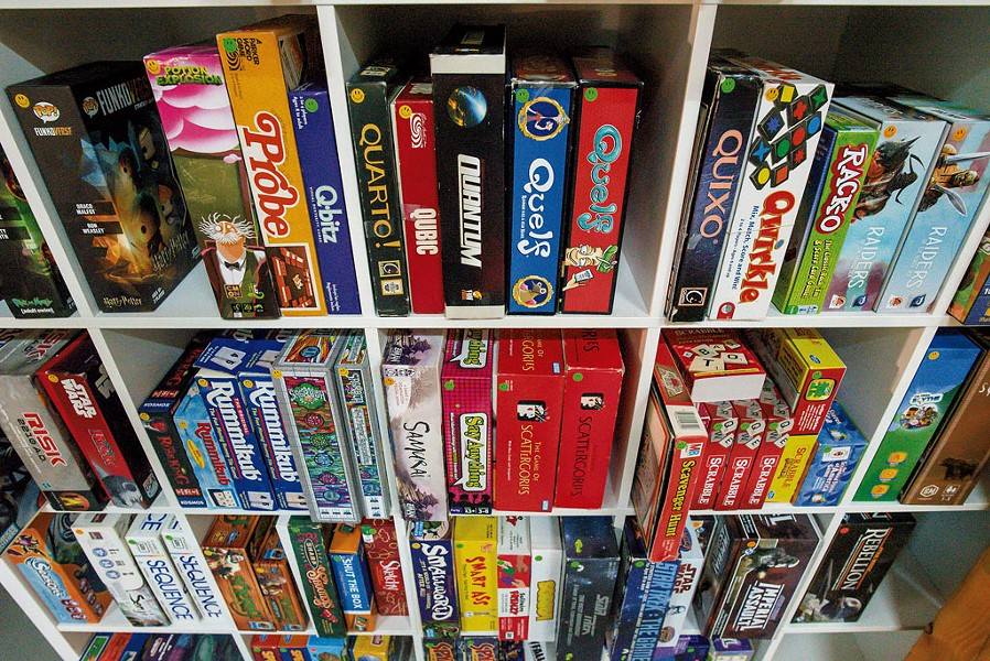 A partial selection of the games available for play at the Boardroom Café - GLENN RUSSELL