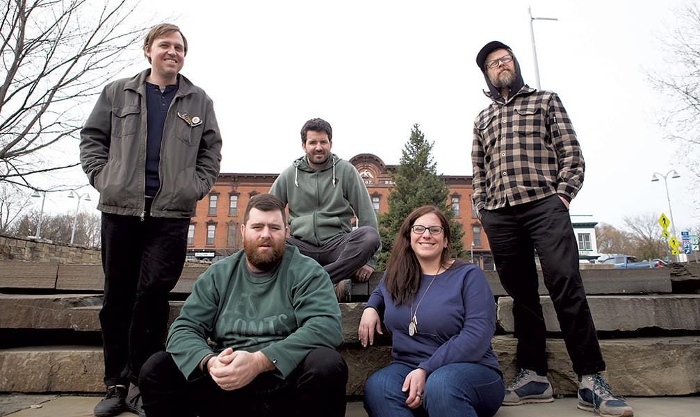 The Waking Windows team, from left: Paddy Reagan, Brian Nagle, Matt Rogers, Ali Nagle and Nick Mavadones - COURTESY OF  LUKE AWTRY PHOTOGRAPHY