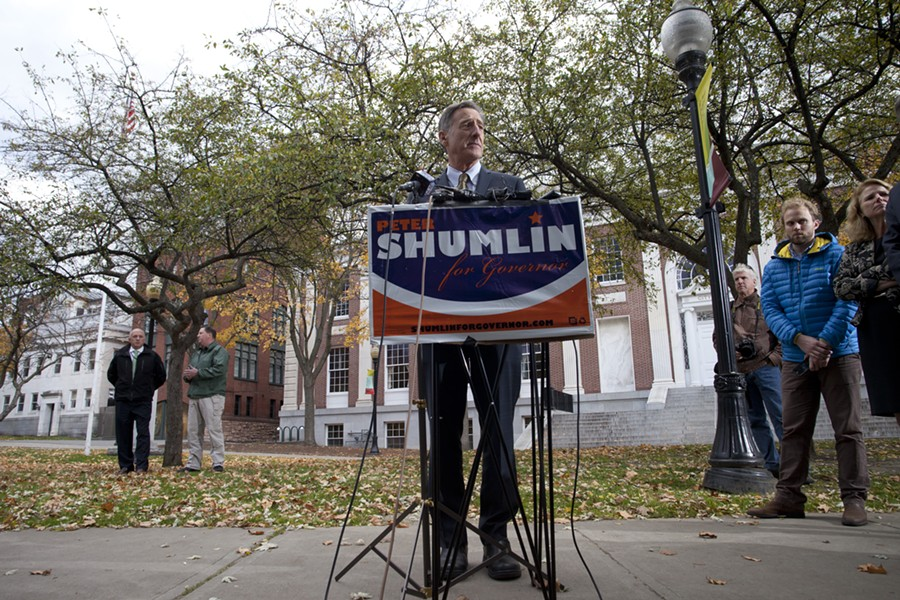 Gov. Peter Shumlin in Burlington City Hall Park in November 2014 - FILE: MATTHEW THORSEN