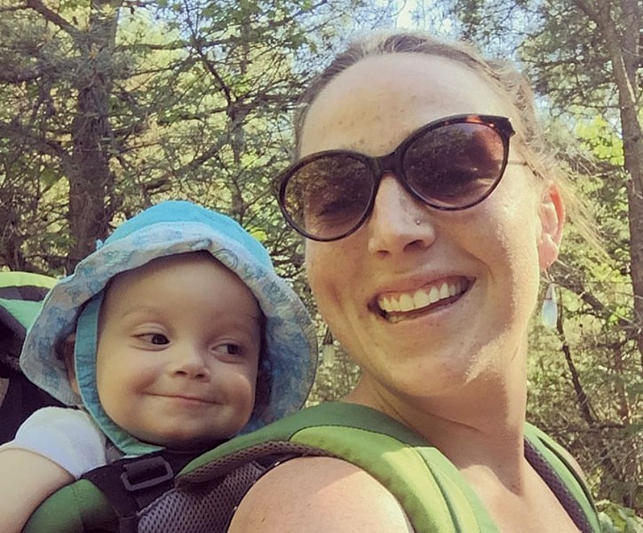 Madelyn Linsenmeir with her son