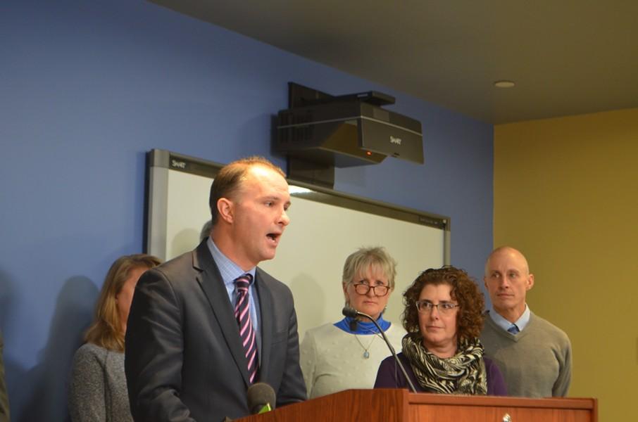 Attorney General T.J. Donovan announcing the settlement with WoodBine Senior Living - DEREK BROUWER