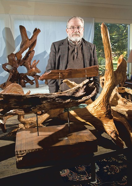 Rabbi Joshua Chason at home with his sculptures - MATTHEW THORSEN