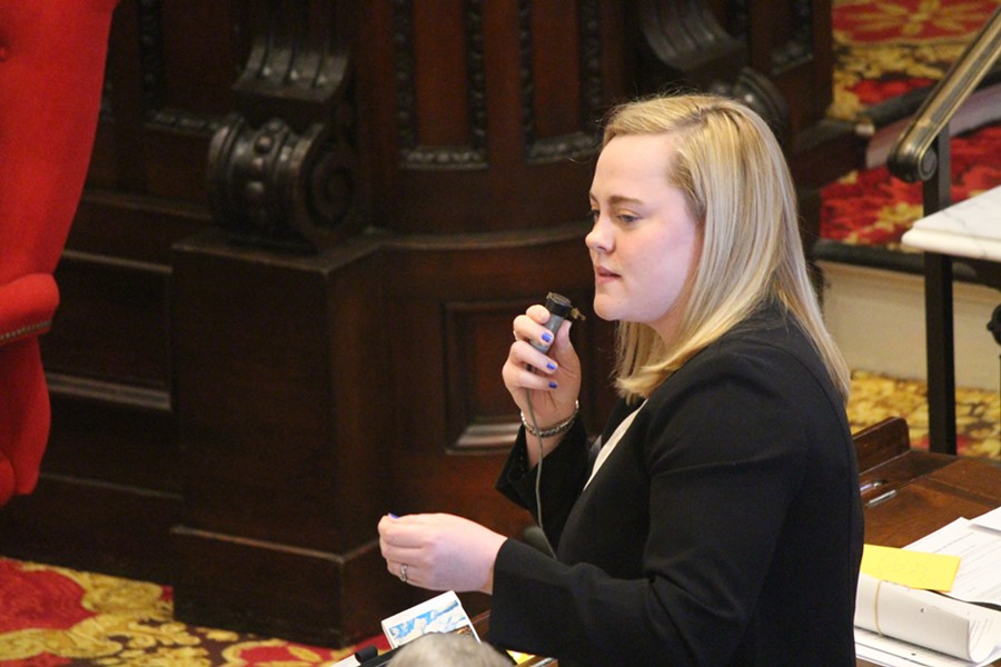 Rep. Rebecca White (D-Hartford) speaking in favor of a minimum wage hike Friday on the House floor - PAUL HEINTZ