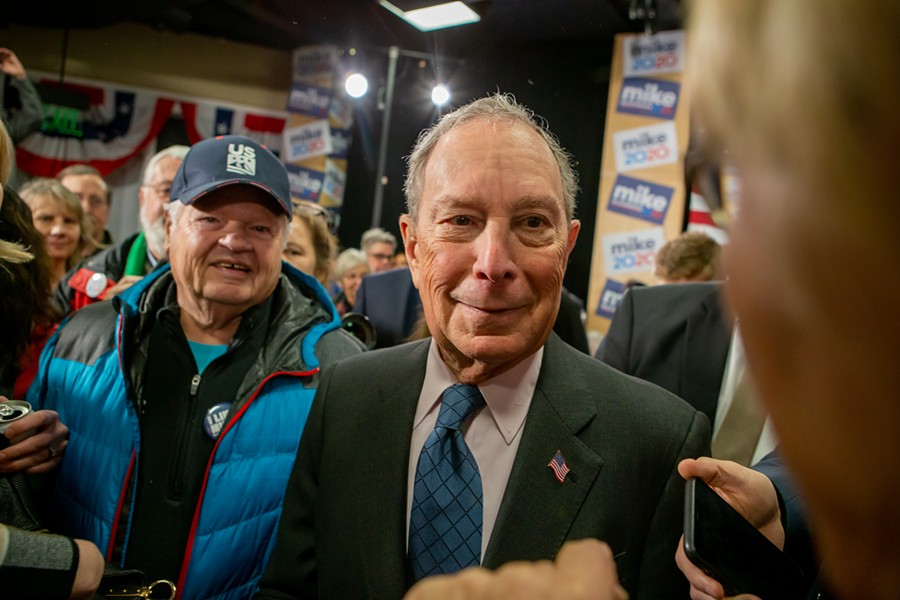 Michael Bloomberg campaigning Monday at the ECHO Leahy Center for Lake Champlain - LUKE AWTRY