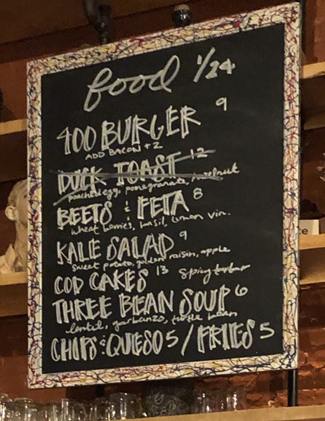 The abbreviated menu at ArtsRiot as it appeared on January 25 - JORDAN BARRY