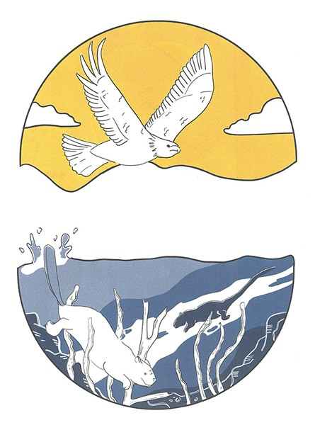 MIGWEN -  Feather -  MGESO - Eagle -  AWAN - Air -  NEBI - Water -  NEBESIS - Pond -  TMAKWA - Beaver -  MOSKWAS - Muskrat - ILLUSTRATIONS BY KELSI BRETT