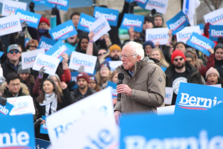 Sen. Bernie Sanders campaigning Saturday on Boston Common in Massachusetts - PAUL HEINTZ