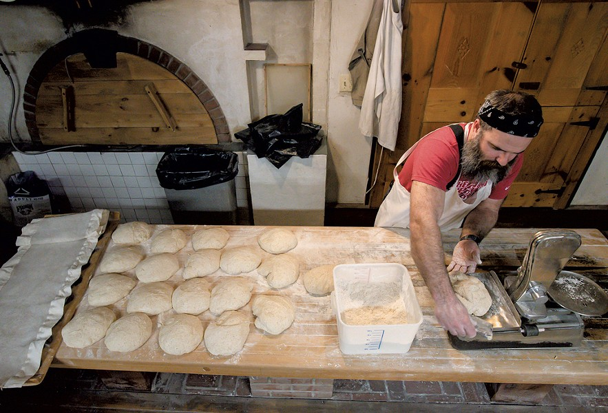 Trent Cooper portioning and shaping sourdough bread - GLENN RUSSELL