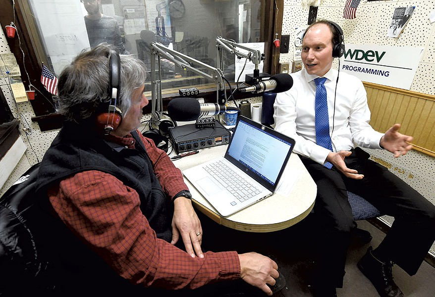 Peter Walke (right) being  interviewed by David Goodman on WDEV Radio in Waterbury - JEB WALLACE-BRODEUR