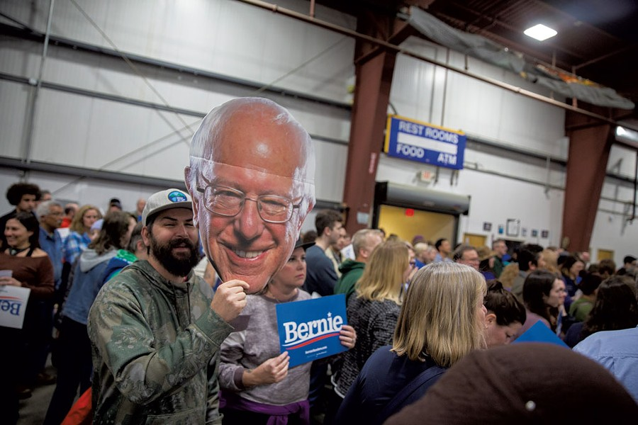 Jack Crookes holding a cutout of Sanders - JAMES BUCK