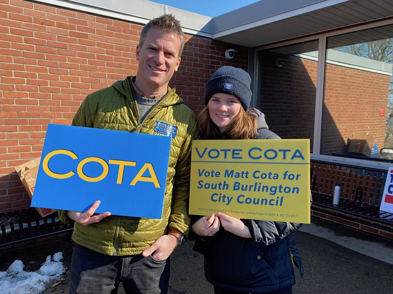 Matt Cota campaigning with his daughter, Molly, on Tuesday - SASHA GOLDSTEIN