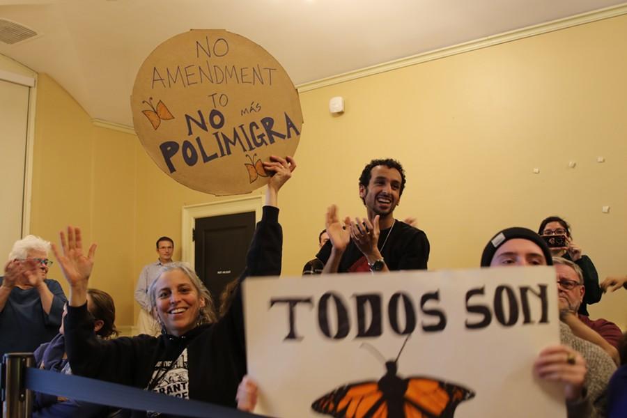 Activists at City Hall - COURTNEY LAMDIN