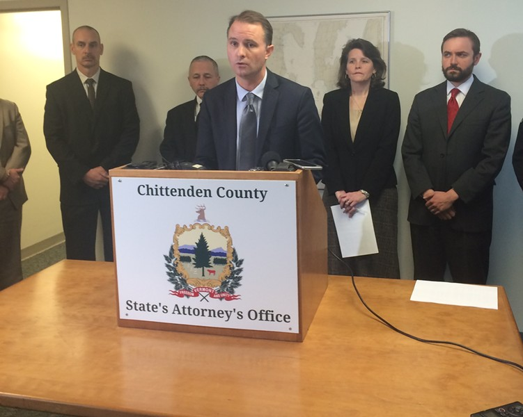 Chittenden County State's Attorney T.J. Donovan at a press conference on Monday - MARK DAVIS