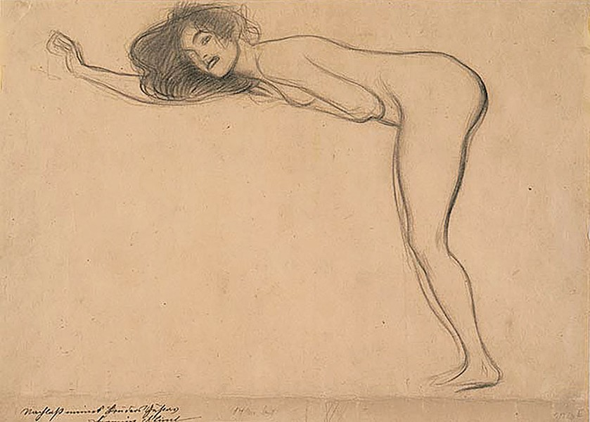 """Standing Nude Girl with Body Bent Forward to the Left"" by Gustav Klimt"