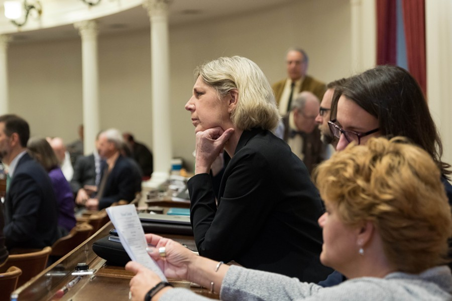 Rep. Emily Long listening to the House debate on Friday - COLIN FLANDERS