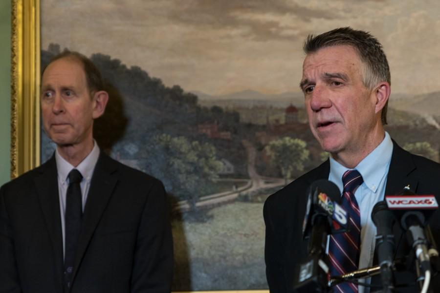 Health Commissioner Mark Levine (left) and Gov. Phil Scott - COLIN FLANDERS