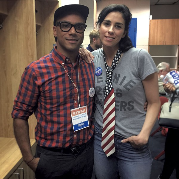 Calderin with Sarah Silverman - COURTESY OF LUIS CALDERIN