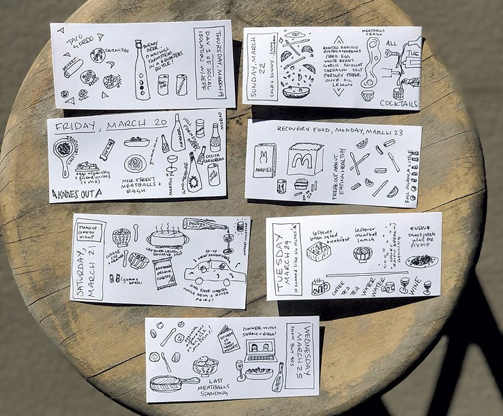 "Sas Stewart's daily ""tiny drawings"" of quarantine meals - COURTESY PHOTO"