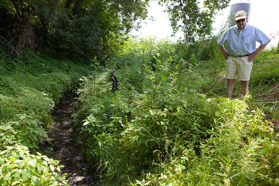 John Belter looking at a brook on his farm that has been found to be contaminated - KEVIN MCCALLUM