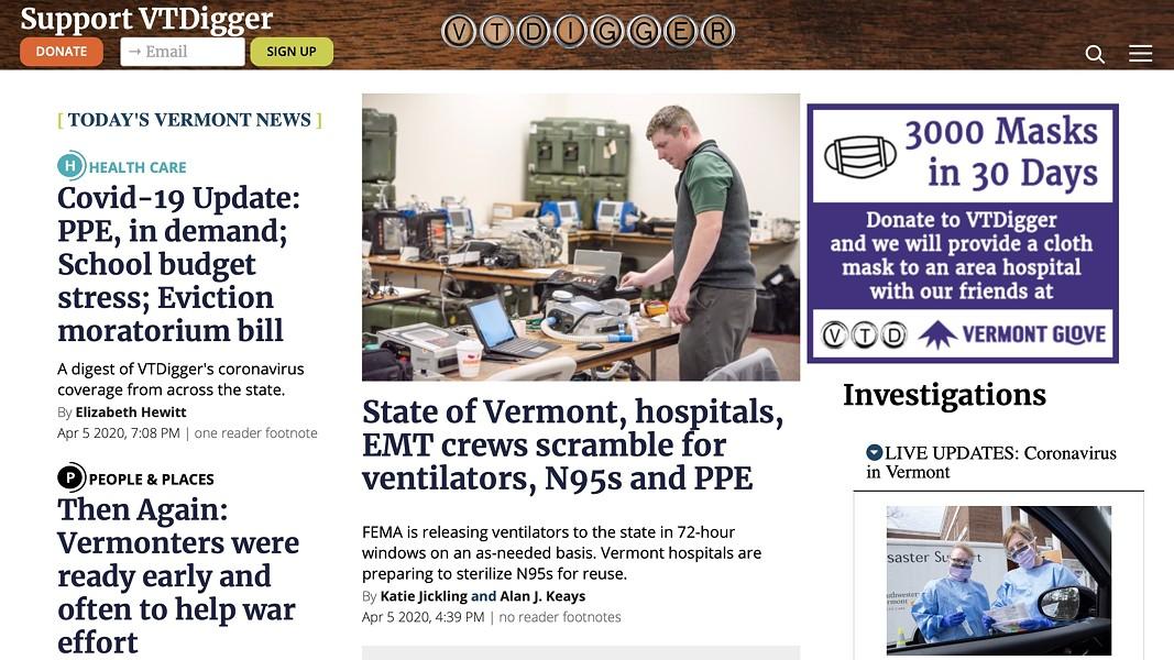 VTDigger's homepage on Monday - SCREENSHOT