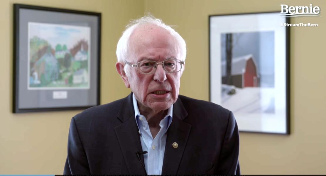 Sen. Bernie Sanders making his announcement online - SCREENSHOT