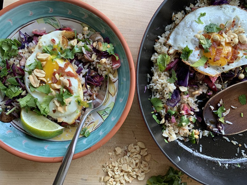 Fridge-foraged fried rice topped with an egg - MELISSA PASANEN