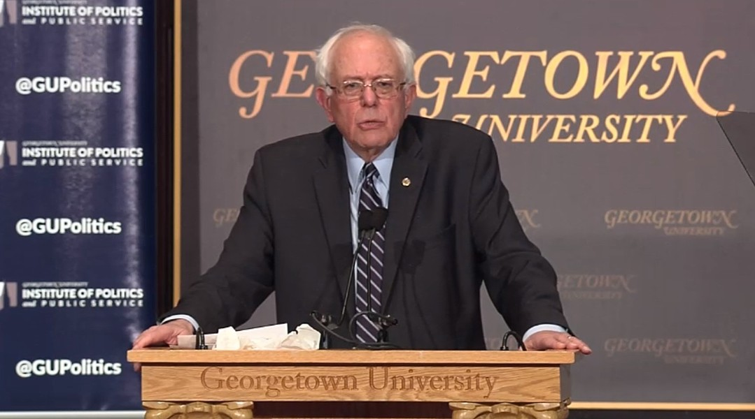 Sen. Bernie Sanders describes his democratic socialist philosophy Thursday at Georgetown University - GEORGETOWN UNIVERSITY