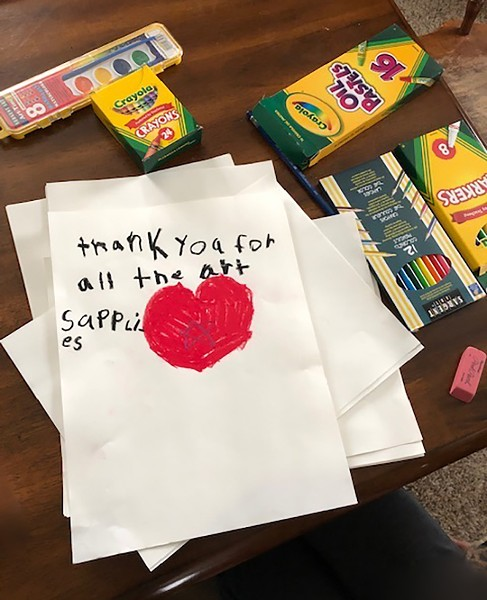 A student's response to receiving art supplies. - COURTESY OF VERMONT STUDIO CENTER