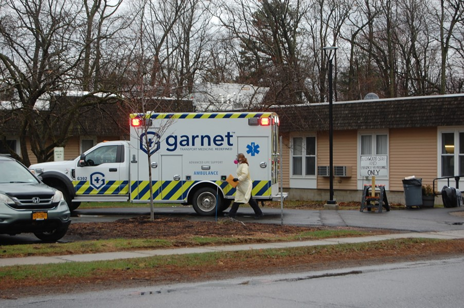 An ambulance at Birchwood Terrace on April 9 - MATTHEW ROY