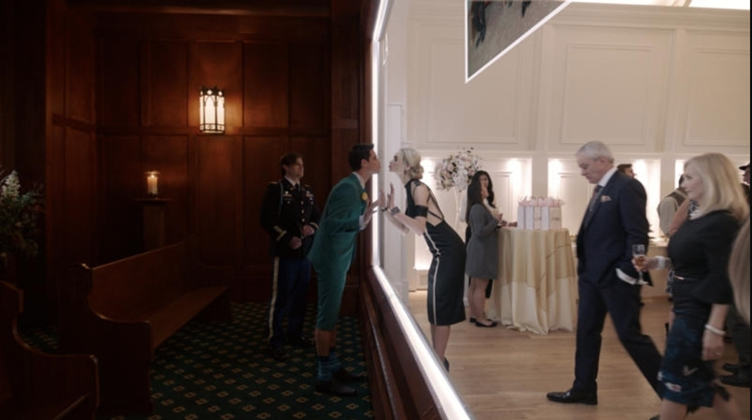"""Nathan attending his own funeral in """"Upload"""" - COURTESY OF AMAZON STUDIOS"""