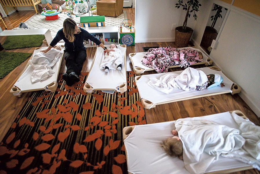Kate Driver soothing sleepy children during nap time in 2018 - FILE: GLENN RUSSELL