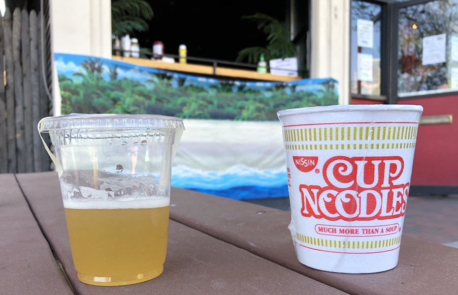 Maple-Whiskey Lemonade and a Cup of Noodles to-go from the Monkey House - JORDAN BARRY