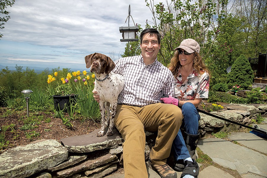 Stephen and Robyn Leffler with their dog, Torvie - JAMES BUCK
