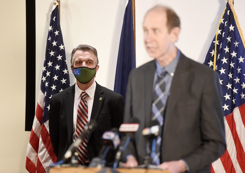 Gov. Phil Scott and Health Commissioner Mark Levine at a recent briefing - FILE: JEB WALLACE-BRODEUR