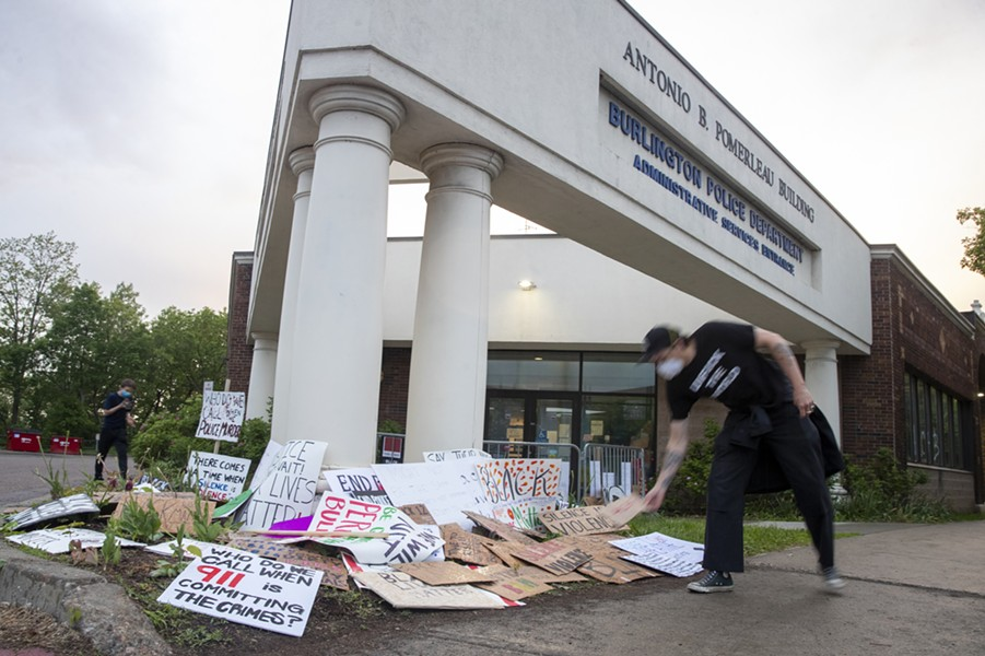 Outside the Burlington Police Department after a May 30 protest - FILE: JAMES BUCK