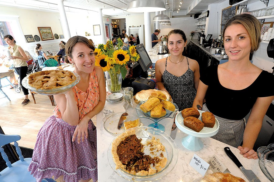 Down Home Kitchen owner Mary Alice Proffitt, left, with staff members Louisa Franco and Lindsey Brownson - JEB WALLACE BRODEUR