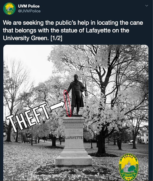 July 16 tweet from University of Vermont police - SCREENSHOT ©️ SEVEN DAYS