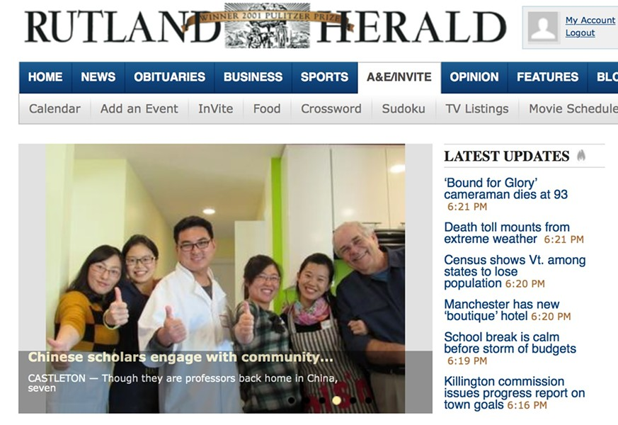 Rutland Herald homepage - SCREENSHOT