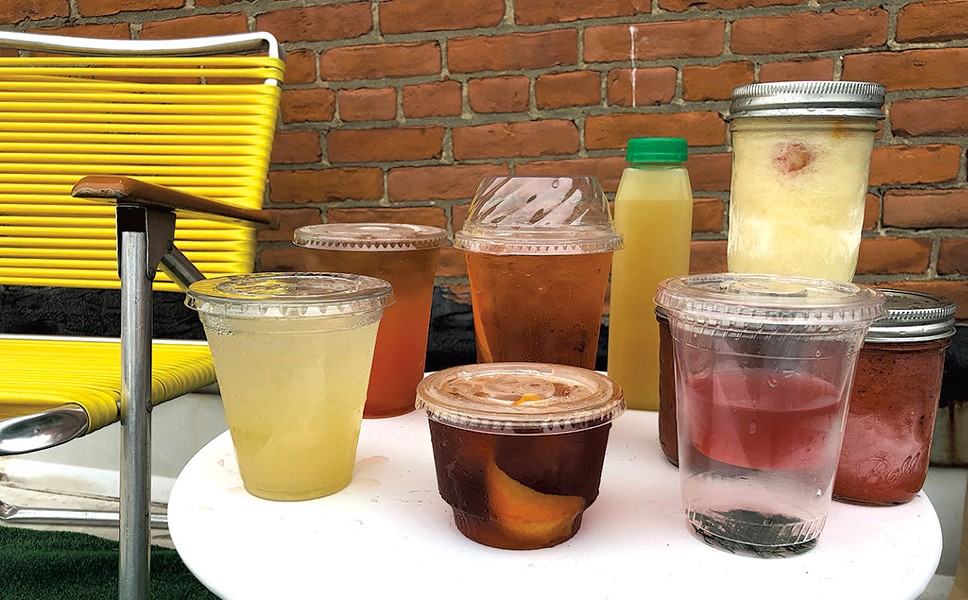 Takeout cocktails (from left): Bee's Knees from Waterworks Food + Drink; Rum Punch from McKee's Pub & Grill; Negroni (front) and Americano from Mule Bar; Caliente Marg from El Cortijo; Face Plant cocktail, Sangrita, frozen drinks from Misery Loves Co. - JORDAN BARRY ©️ SEVEN DAYS