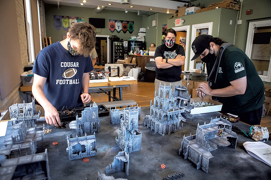 A game of Warhammer 40,000 at Quarterstaff Games - LUKE AWTRY