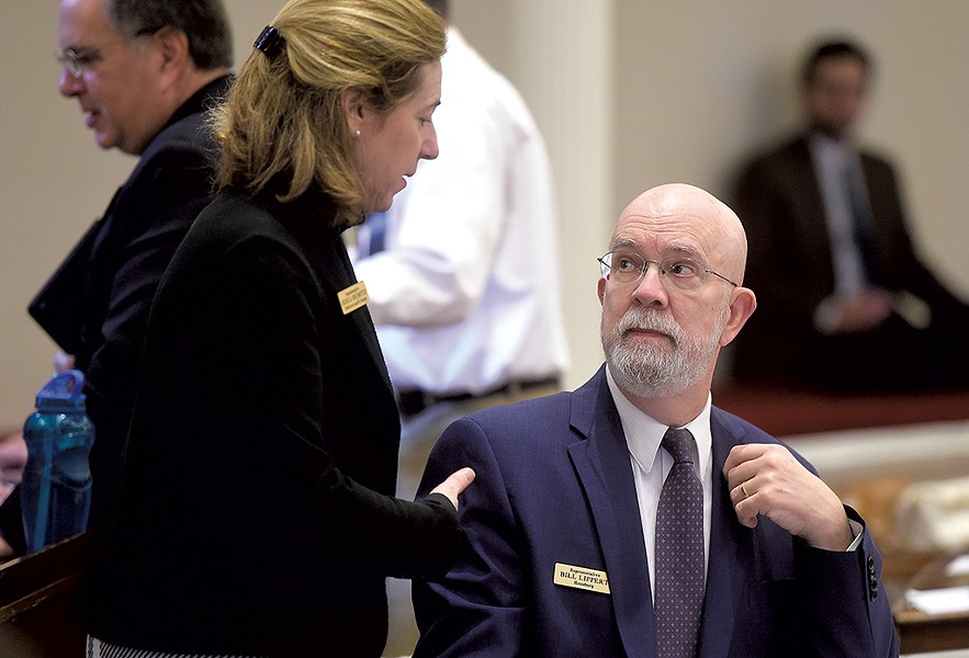 Rep. Bill Lippert speaking with Rep. Jessica Brumstead at the Statehouse in 2019 - FILE: JEB WALLACE-BRODEUR