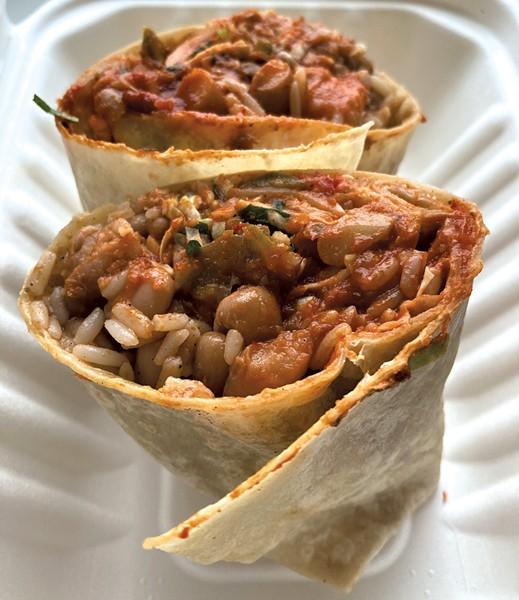 Bean burrito and brisket burrito from Little Gordo - MARGARET GRAYSON ©️ SEVEN DAYS