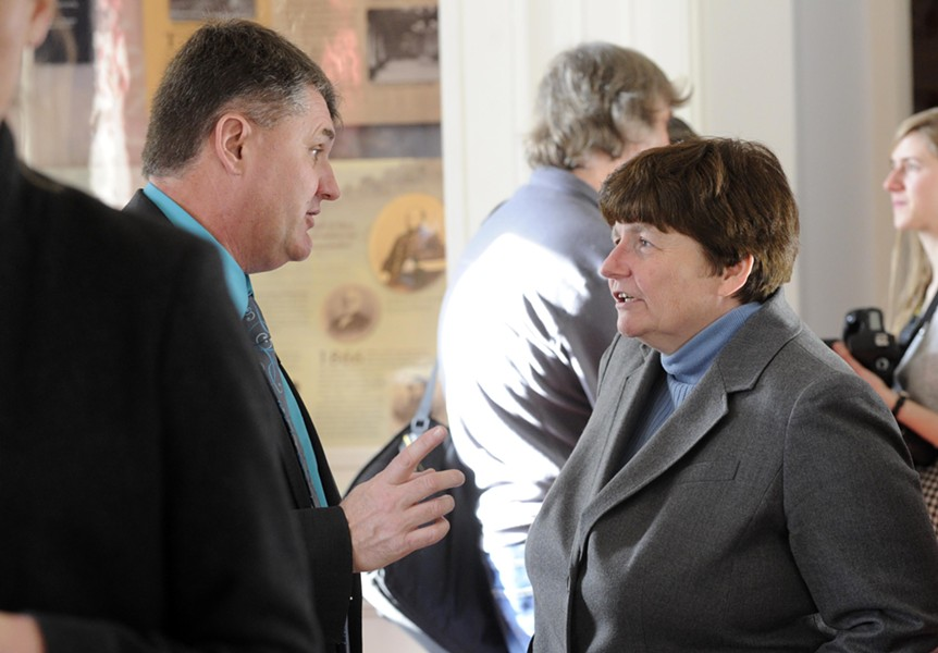 House Minority Leader Don Turner speaks with state Treasurer Beth Pearce - FILE: JEB WALLACE-BRODEUR