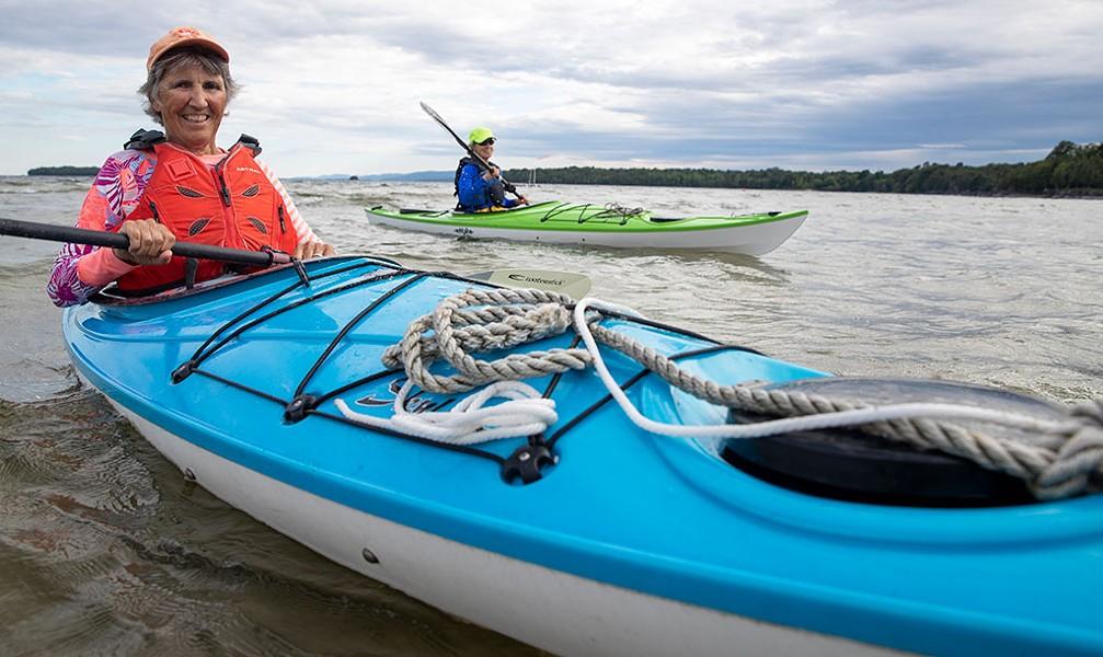 Catherine Frank (left) and Margaret Holden paddling on Lake Champlain - JAMES BUCK
