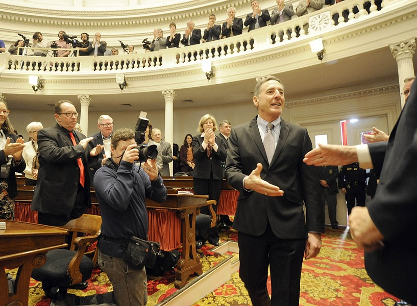 Gov. Peter Shumlin prepares to deliver his final State of the State address last Thursday at the Statehouse. - FILE: JEB WALLACE-BRODEUR